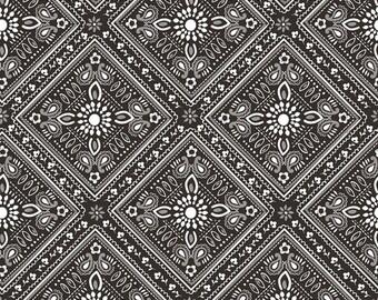 Half Yard Luckie - Bandana in Black - Cotton Quilt Fabric - by Maude Asbury for Blend Fabrics - 101.115.07.2 (W3464)