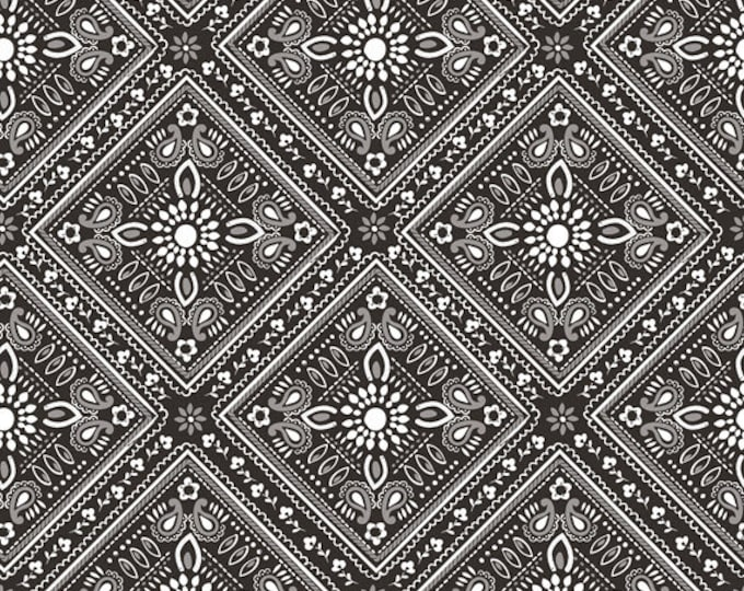 Half Yard Luckie - Bandana in Black - Cotton Quilt Fabric - by Maude Asbury for Blend Fabrics - 101.115.07.2 (W3464)