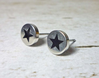 Star Silver Round Stud Earrings