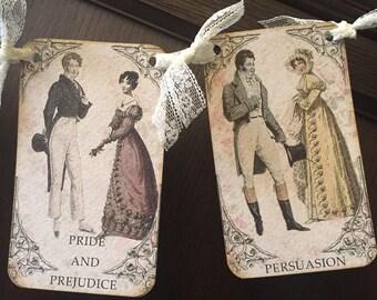 Jane Austen inspired banner, with rhinestones and silver German glass glitter.