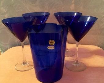 Vintage Cobalt Blue Huta Szkla Lucyna hand blown Glass Ice Bucket and 4 Martini Glasses