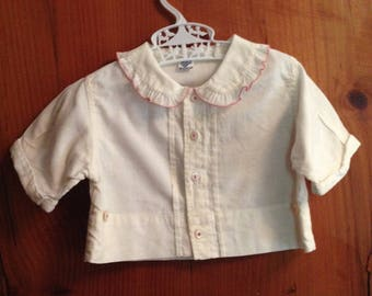 Vintage white and red baby blouse - size 1