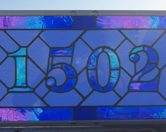 Home Address Sign, Stained Glass Numbers, Custom Entryway Number, Custom Stained Glass Window, Personalized Window Panel, Address Plaque