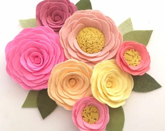 ROSES // Loose Felt Flowers // Unattached Felt Flowers // DIY Flowers // Flower Embellishments // Set of 7 // You Pick Custom Colors