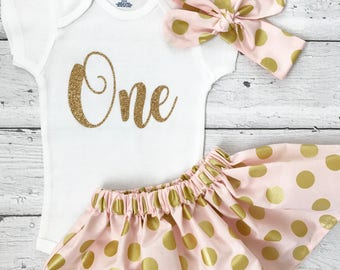 Pink & Gold Birthday Outfit, 1st Birthday Girl, 1 Year Photo Outfit, Pink and Gold, Gold First Birthday