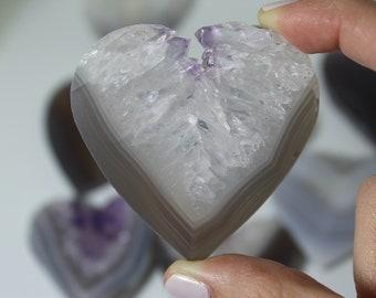 Amethyst Heart, Amethyst Druzy Heart Carving, Jewelry Making, crystal grid, Meditation (B)