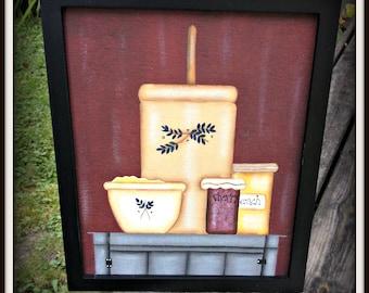 Primitive 8 x 10 Framed Canvas Painting Still Life Butter Churn-Bowls-Jam Country Shelf