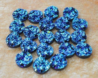 8 Round Drusy Resin Cabochons flat round