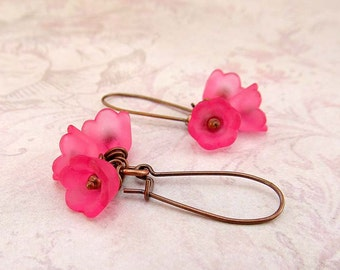 Pink flower earrings - gift spring jewelry wedding jewelry dangle drop earrings