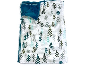 Blue Mountains Solitude Baby Boy Blanket - Minky Baby Blanket, Forests Woodland Baby Blanket, Ready to Ship Baby Blanket, Baby Shower Gift