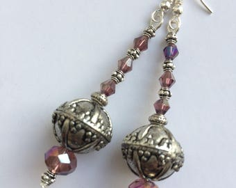 Vintage Art Deco Earrings with multi faceted beads