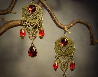 Antique Earrings Pagan Medieval red old-bronze vintage gift set Victorian crescent moon Lunar