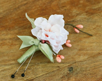 Cherry Blossom Boutonniere, Wedding Boutonniere, Bridal Boutonniere Rustic Boutonniere Woodland Boutonniere Buttonhole Flower