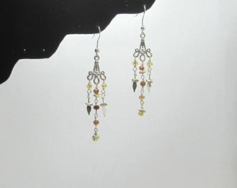 Hessonite Garnet and Citrine Silver Dangle Earrings