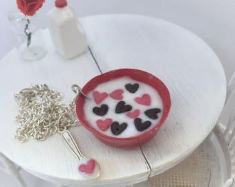 Miniature Bowl of Heart Shaped Cereal Necklace for Dollhouse or Fairy Garden