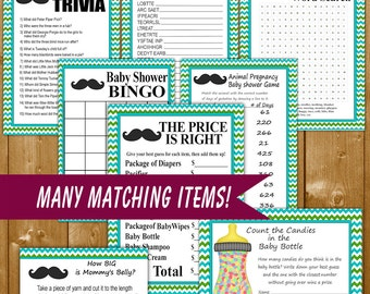 Mustache Baby Shower Games in Blue and Green, Package of 8 Mustache Baby Shower Games, Printable Baby Shower Games, Instant Download