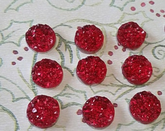 12mm Ruby Red Ice Faux Druzy