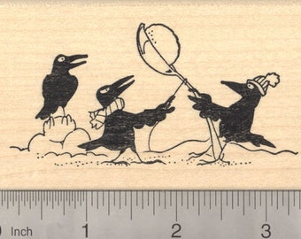 Crow Rubber Stamp, Winter Holiday Theme with Snowball fight  K22708 WM