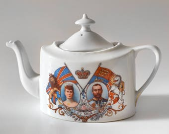 Vintage Teapot British Royal Coronation George V English Tea King Queen Souvenir