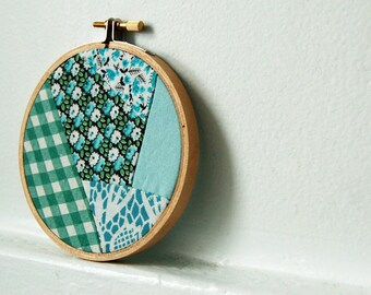 Vintage Fabric Patchwork Hoop. Blue, Green, Teal, Turquoise Floral. Fabric Wall Art Handmade by merriweathercouncil on Etsy