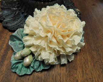 French Vanilla Rose Millinery Applique With Vintage Buds