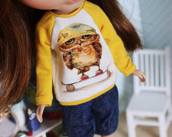 Toffee the Owl - Long sleeved raglan sweater with an owl for Blythe - by Icantdance