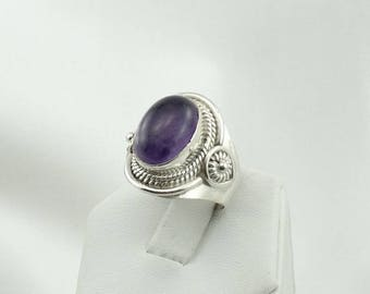 Lovely Vintage Amethyst Sterling Silver Saddle Ring #AMETHYST3-SR3
