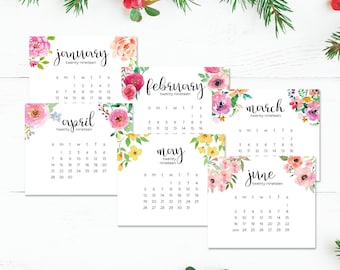 2019 Planner Jewel Cd Case Calendar Printable instant gift Floral Watercolor Horizontal Desk Frame Size Sunday