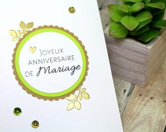 Handmade Wedding Anniversary Card - Happy Anniversary Card in French - Anniversary Wishes - Anniversaire Mariage Card - Heat Embossed Cards