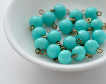 Vintage Round Turquoise Lucite & Brass Bead Connectors 14mm (20)