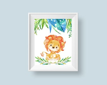 Baby Lion Print, Jungle Safari Nursery Print, Printable Wall Art, Baby Room Decor Leaves Flowers 8x10 A4 Instant Digital Download