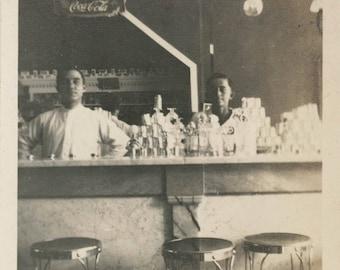 vintage photo1916 Soda Fountain Pennsylvania Soda Jerks behind Counter
