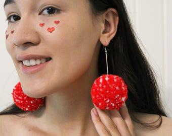 Toadstool red and white spot Pom Pom chain earrings Yayoi Kusama