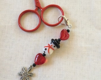 scissors fob SNOWMAN with snowflake charm and red glass heart beaded accessory for your embroidery scissors
