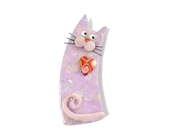 Cat Brooch pale mauve light pink named ALINA, pastel lavender cat with mustaches, Mothers day gift for cat lovers Animal polymer clay brooch