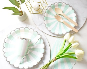 Green striped paper plates, cups, napkins and straws for 8 | wedding plates | party tableware for baby showers or birthday
