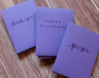 "Handmade Purple Envelopes - Set of 12 - Assorted Phrases - For You, Happy Birthday, Thank You, 3 3/4"" x 5"", Dark Purple Ink"