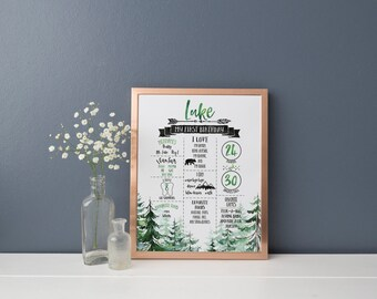 Wild One First Birthday Poster- First Year Facts and Milestones- Party Decoration- Mountains- Adventure- Bear- Digital File