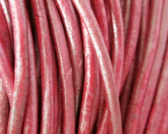 6 feet Berry (metallic) Natural Leather Cord 1.5 mm, Natural Leather Cord, Round Leather Cord