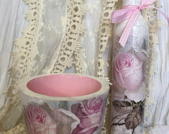 Shabby Chic planter and vase.