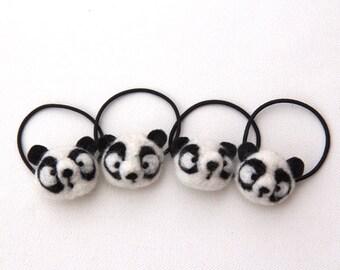 Panda Bear Teddy Bear Hair Tie Cute Felted Wool Bobble Elastic Loop For Ponytail