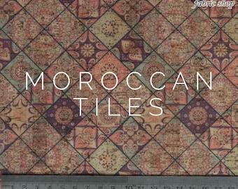 Cork Fabric Print - Moroccan Tiles, UK Supplier, Cork Leather, Vegan Leather
