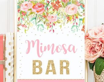 Floral Mimosa Bar Sign, Pink and Gold Birthday Mimosa Bar, Table Sign, Floral baby shower, Pink and Gold Printable sign, INSTANT DOWNLOAD