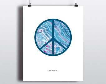 Art Print 8x10 Indigo + Fuschia Marble Peace