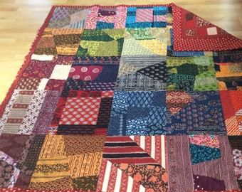 Indian Quilts with Patchwork and Red Squares