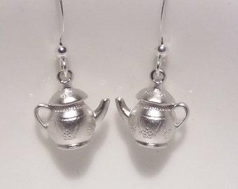 Cute silver plated teapot earrings