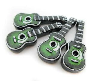 4 Large Green Guitar Beads - AB293