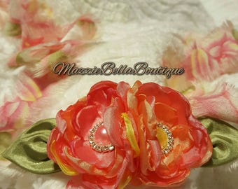 Spring Melody Floral Halo Tieback~Peach~Pink~Coral~Photo Prop~Satin Singed Roses~Wedding~Shabby Chic~Flower Girl~Infant Tieback