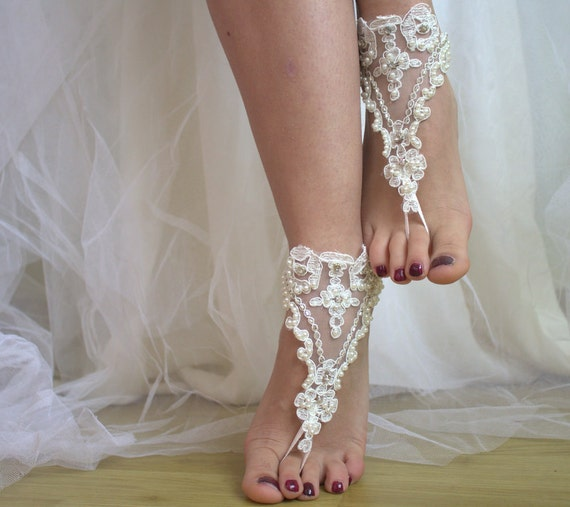 391ca3c152c38 summer bridal shoes sandals free lace Beaded barefoot wedding shos beach  ivory shipping shoes wedding accessories ...