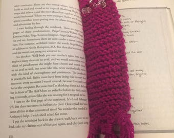 Sparkly Pink Knit Bookmark with Beading- Bookmark with Tassels and Beading